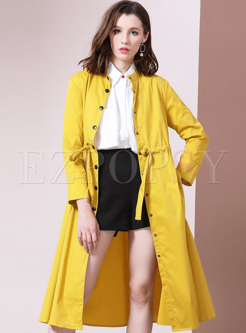 Pure Color Gathered Waist Loose Trench Coat