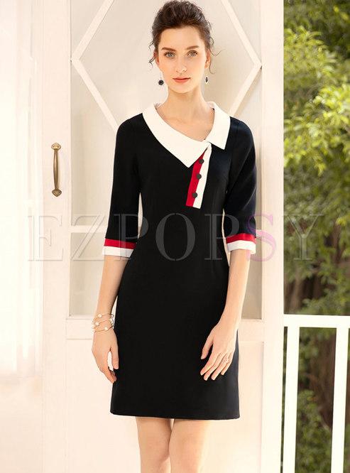 Stylish Doll Collar Color-blocked Splicing Sheath Dress