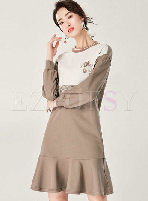 Chic O-neck Embroidered Falbala T-shirt Dress