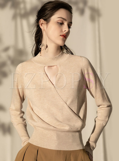 Hollow Out O-neck Knitted Pullover Sweater