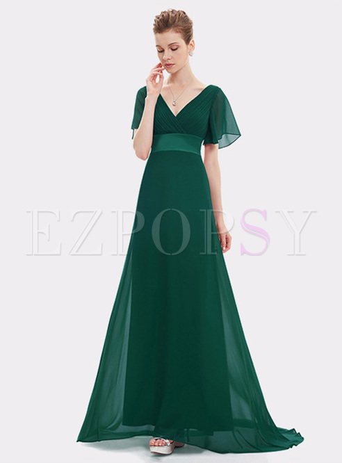 Contrast Solid Color V-Neck Bell Sleeve Evening Dresses