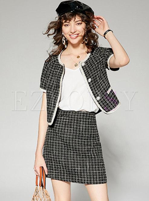 Vintage O-neck Plaid Coat & Sheath Mini Skirt