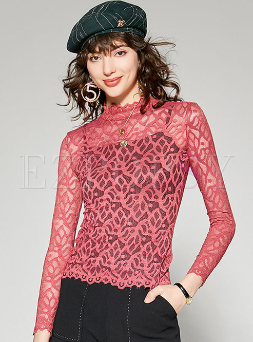 Sexy Lace Hollow Out Perspective Pullover T-shirt