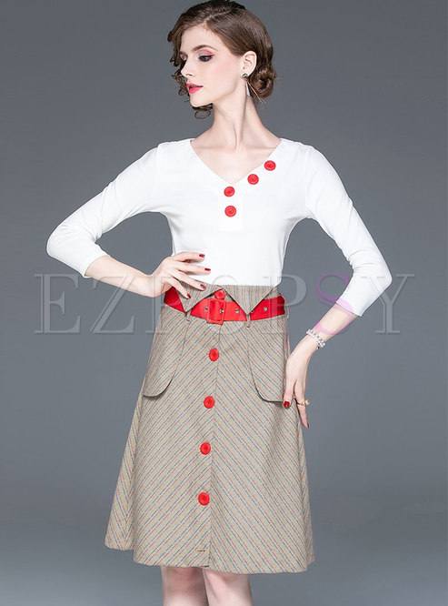 Brief V-neck White Knitted Top & Striped A Line Skirt