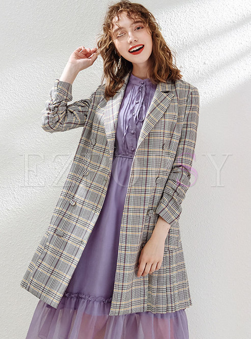 Stylish Lapel Double-breasted Plaid Trench Coat