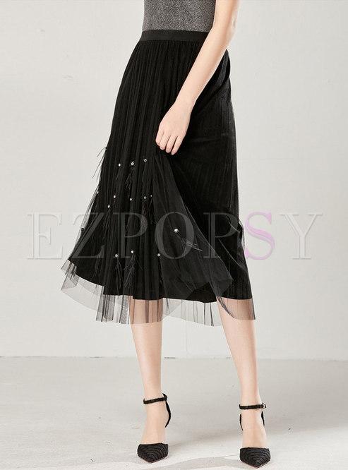 Brief High Waist Beaded Tassel Pleated Skirt