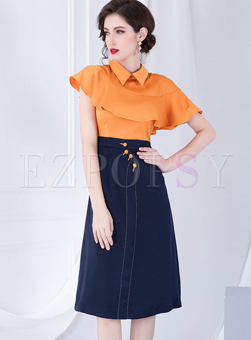 Elegant V-neck High Waist Color-blocked Skater Dress