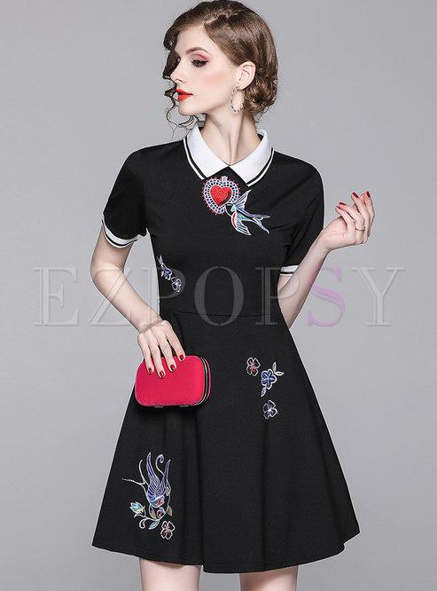 Stylish Lapel Embroidered Slim Skater Dress