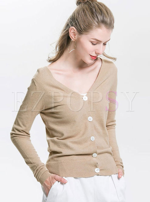Solid Color V-neck Thin Slim Cardigan