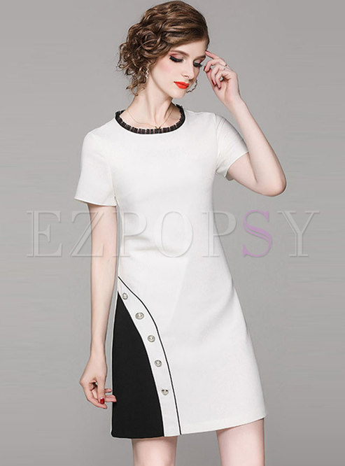Color-blocked O-neck Slim Bodycon Dress