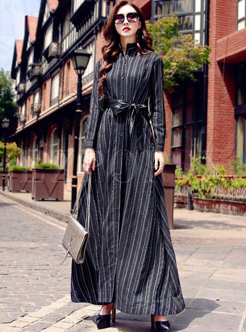 Stand Collar Striped Waist Maxi Dress