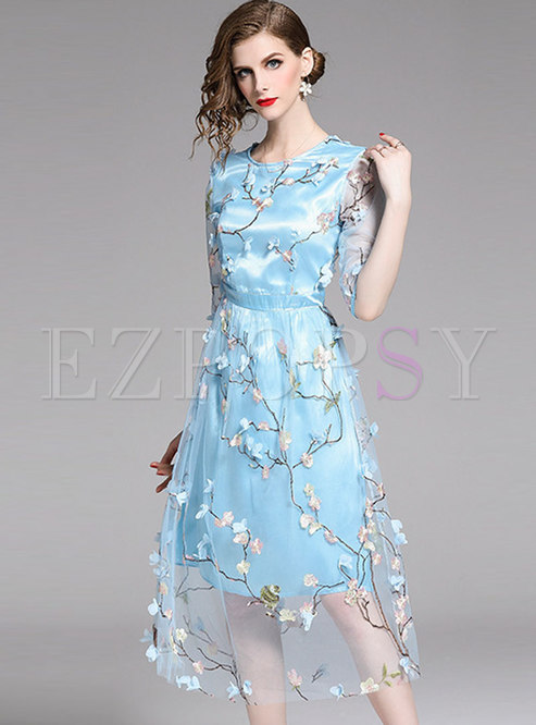 Sweet Blue Embroidered A Line Dress