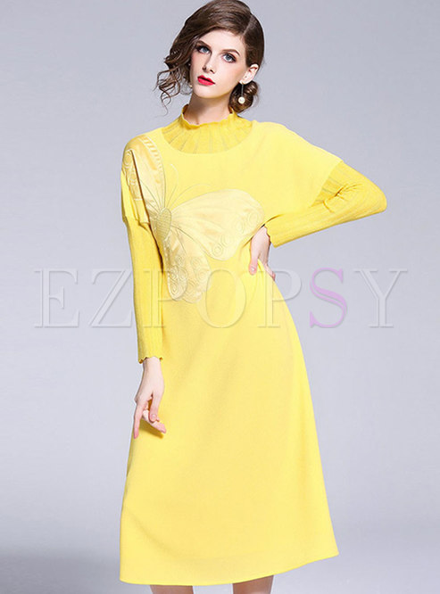 Turtleneck Long Sleeve Loose Dress