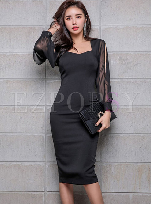 Square Neck Chiffon Patchwork Bodycon Dress