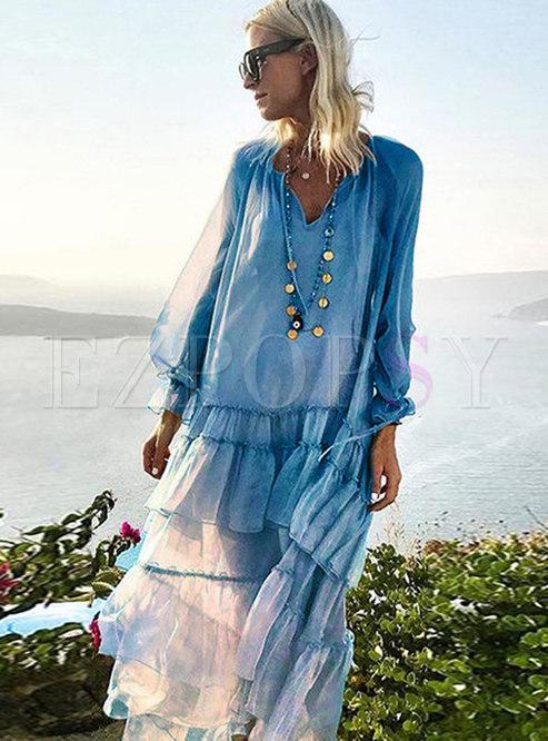 Bohemian V-neck Falbala Patchwork Shift Dress