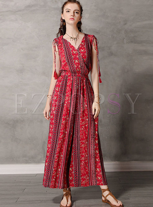 Retro V-neck Sleeve Print Wide Leg Jumpsuit