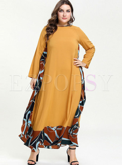 Plus Size Geometric Patchwork Loose Dress
