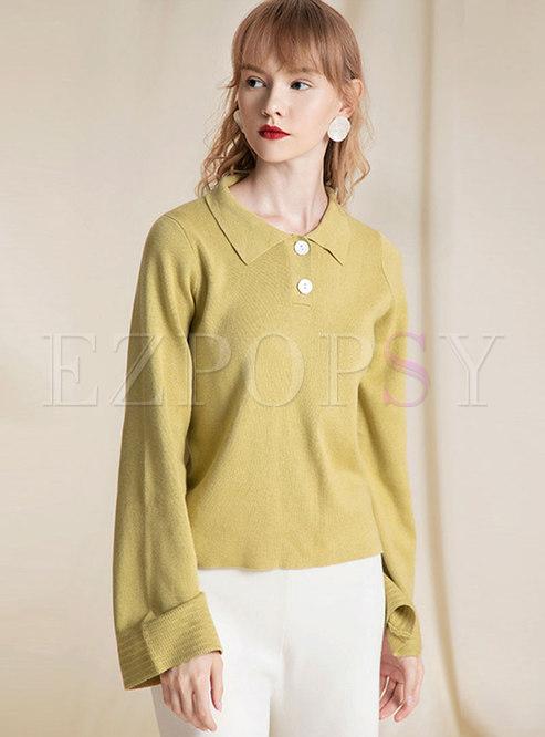 Brief Turn Down Collar Loose Sweater