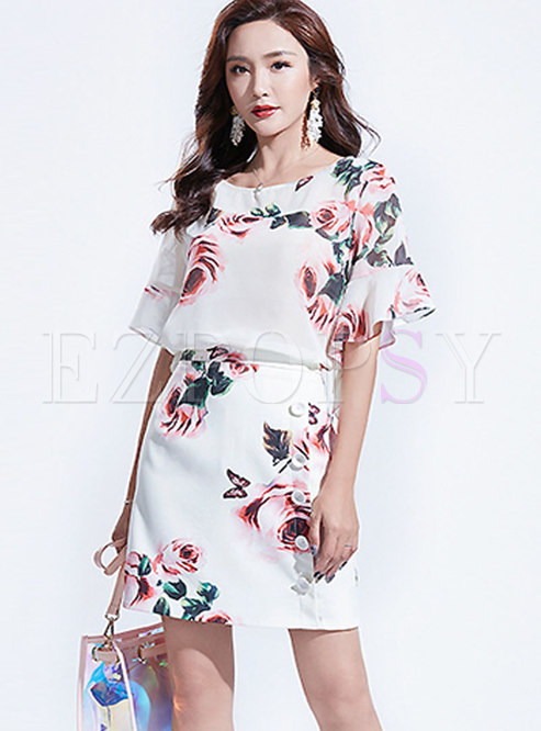 Short Sleeve Print Two Piece Outfits