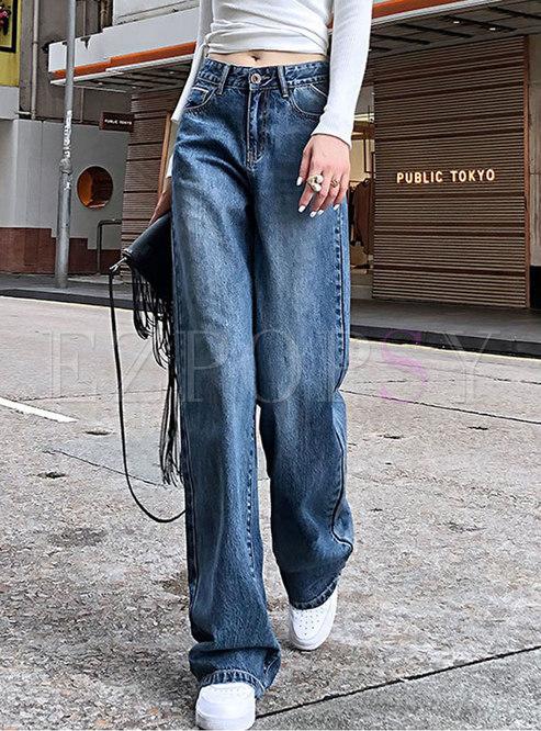 High Waisted Wide Leg Denim Long Pants
