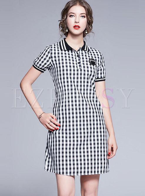 Turn Down Collar Plaid T-shirt Dress