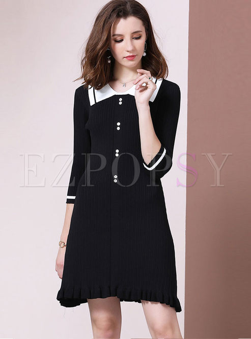 Turn Down Collar Half Sleeve Mini Dress