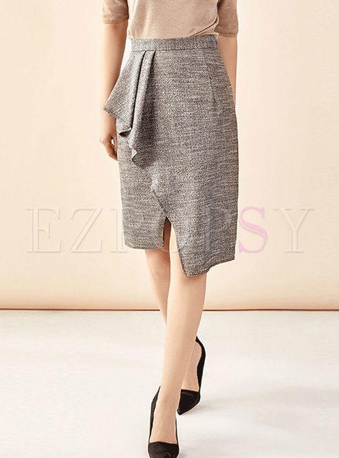 High Waisted Falbala Slit Bodycon Skirt