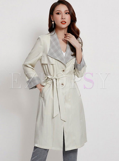 Plaid Patchwork Wrap Trench Coat