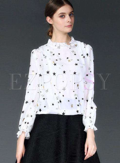 Sweet Standing Collar Star Print Blouse