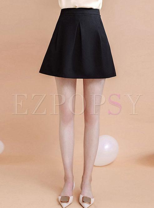 Black High Waisted Mini A Line Skirt