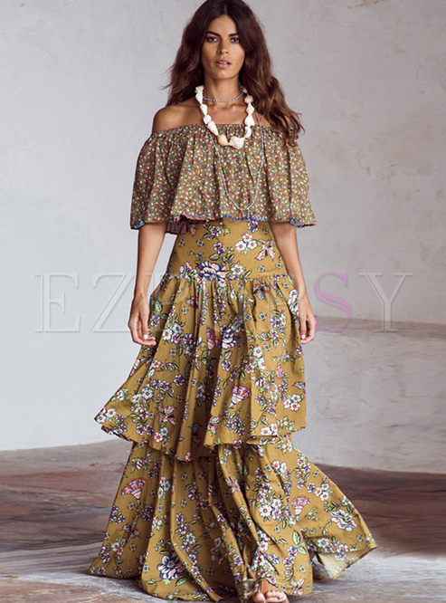 Bohemian Slash Neck Floral Maxi Dress