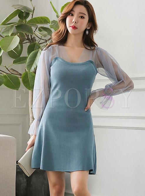 Mesh Long Sleeve Patchwork Knit Dress