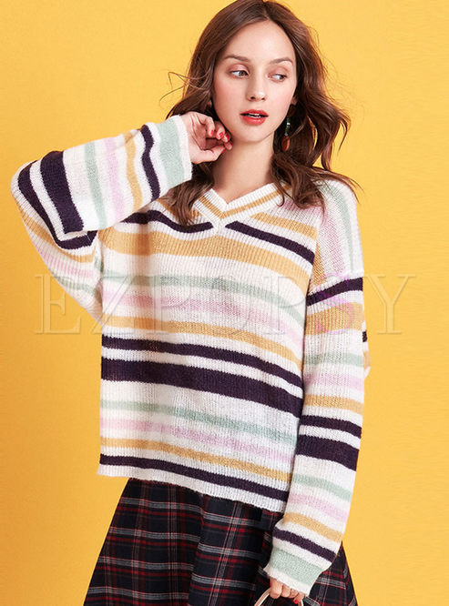Stylish Striped Loose Pullover Sweater