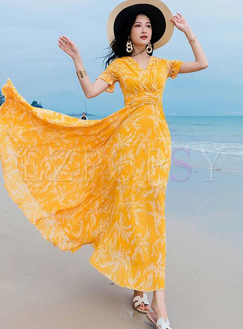 Bohemian V-neck Print Big Hem Dress