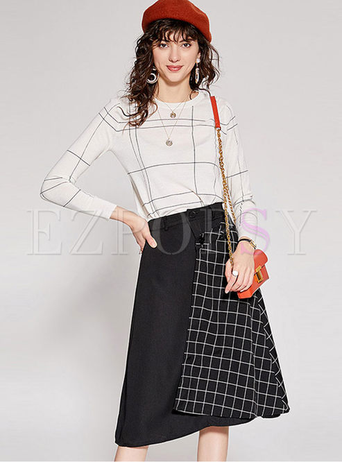 Casual O-neck Plaid Two Piece Outfits