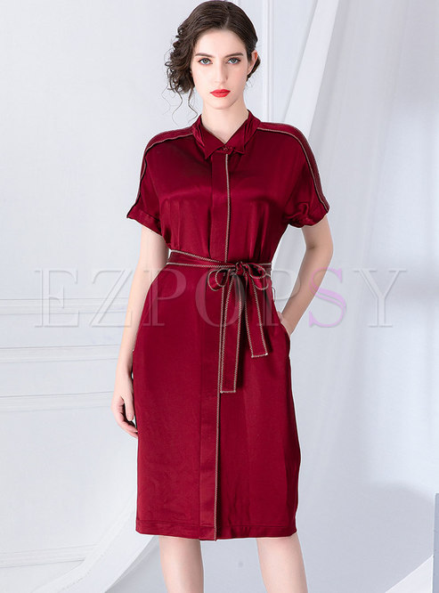 Casual Lapel Single-breasted Tied T-shirt Dress