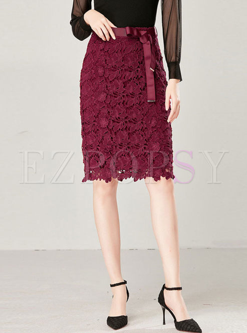 Solid Color High Waisted Lace Skirt
