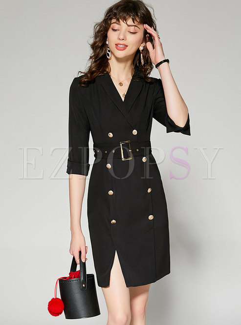 Elegant Pure Color Lapel Slim Bodycon Dress