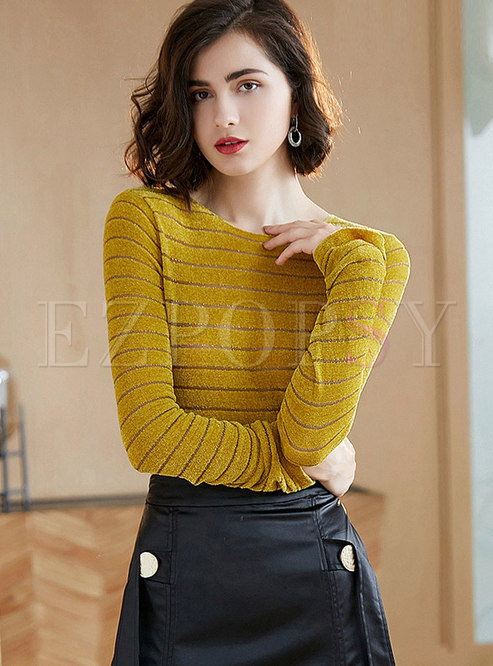 Casual O-neck Striped Knitted Slim Sweater