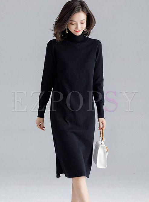 Brief Solid Color Slit Sweater Dress