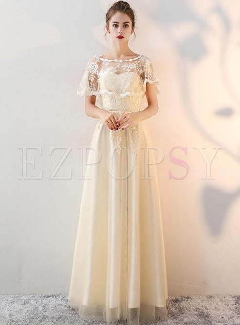 Embroidery Lace Solid Color Sashes O-Neck Sleevesless Long Dresses