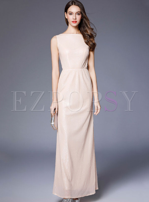 Sequined Solid Color O-Neck Sleevesless Backless Long Dresses