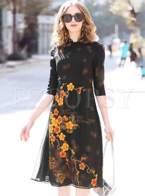 Printing Contrast Stand Collar Half Sleeves Midi Dresses