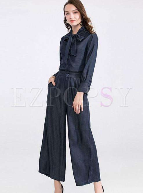 Turn Down Collar Denim Shirt & Wide Leg Pants