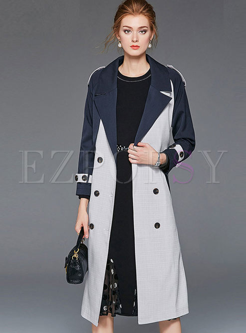 Fashion Color-blocked Lapel Trench Coat