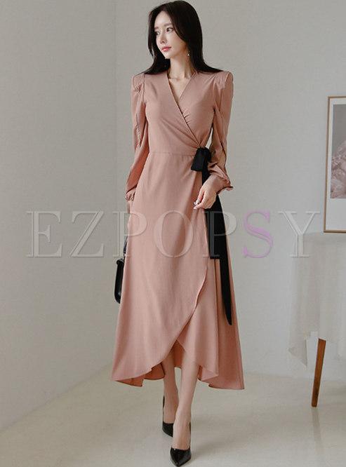 Stylish V-neck Bowknot Tied Irregular Maxi Dress