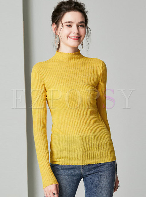 Solid Color All-matched Pullover Sweater