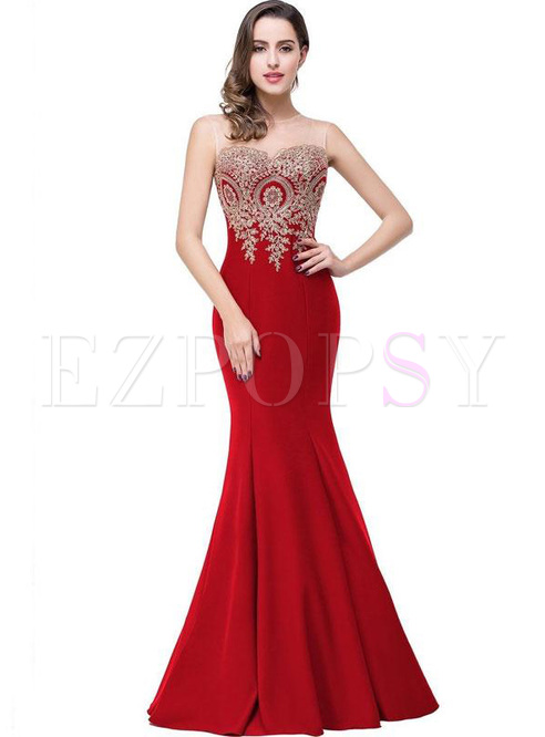 Embroidery Contrast O-Neck Sleeveless Sheath Dresses
