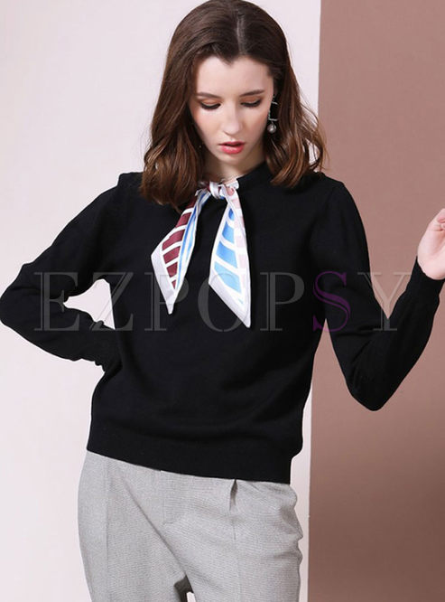 Black Long Sleeve Pullover Sweater