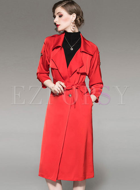 Turn Down Collar Waist Long Trench Coat